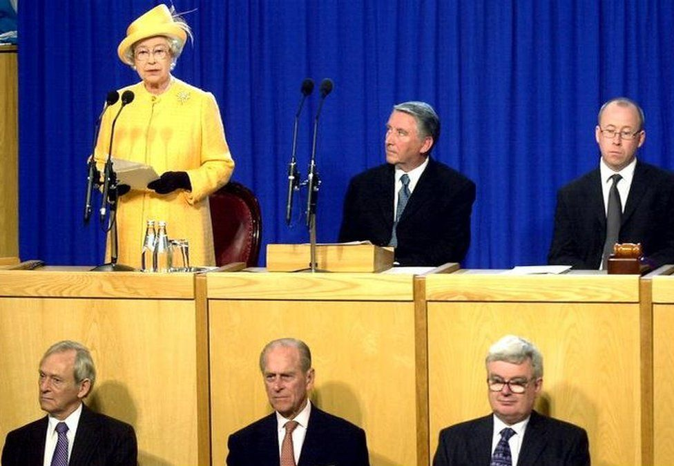 The Queen and Duke of Edinburgh at the Scottish Parliament in 2002