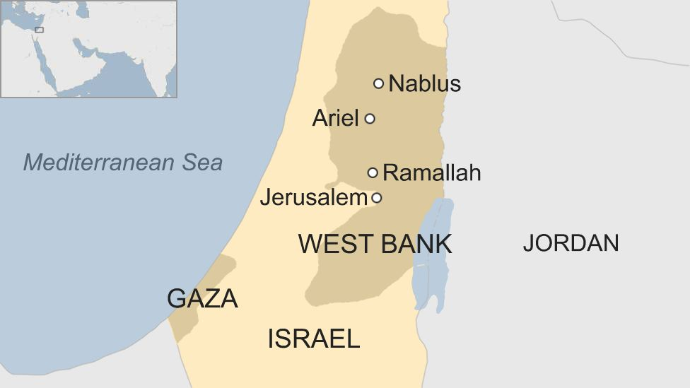Map of Israel and West Bank