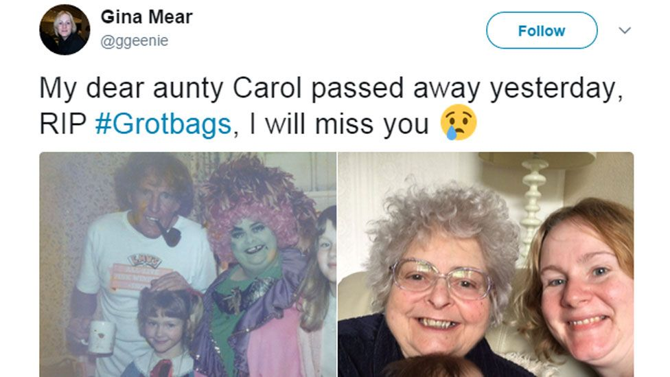 My dear aunty Carol passed away yesterday. RIP #Grotbags, I will miss you