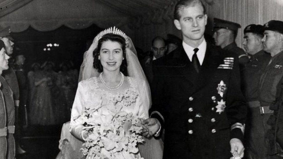 Queen Elizabeth and the Duke of Edinburgh on their wedding day in 1947