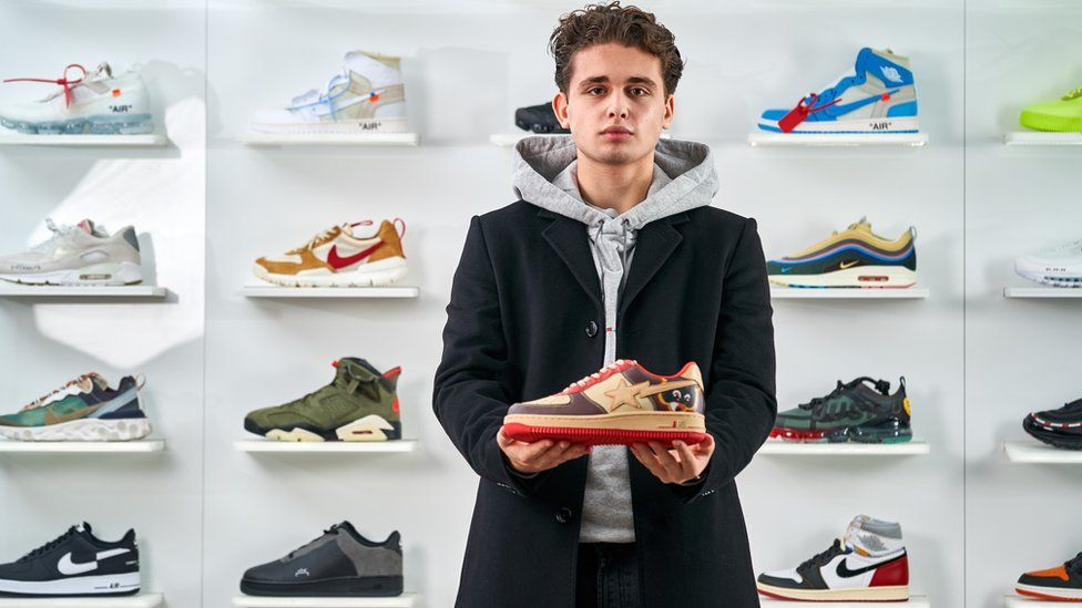 Joe Franklin with the rarest pair of trainers he owns