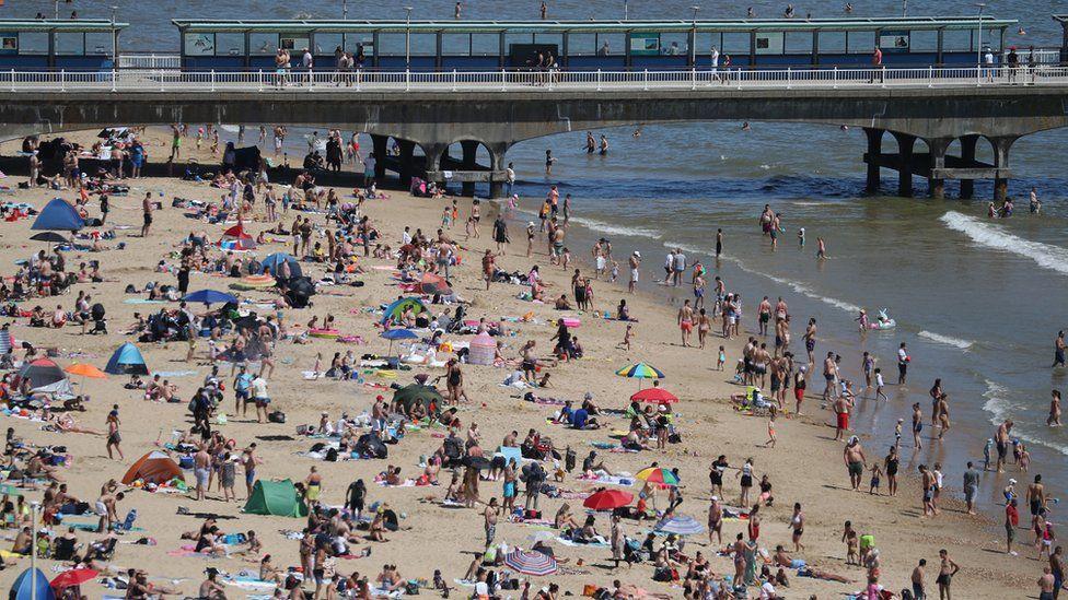 A beach in Bournemouth in Dorset