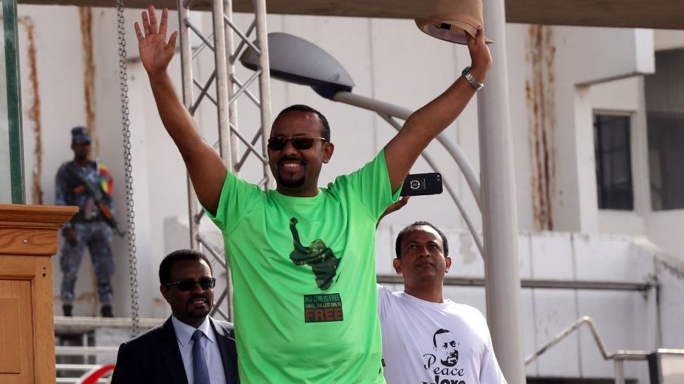 Abiy Ahmed waving