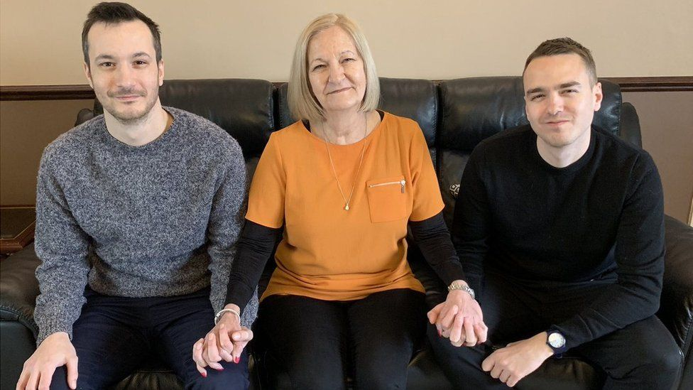 Sally Challen, with her sons James (L) and David (R),
