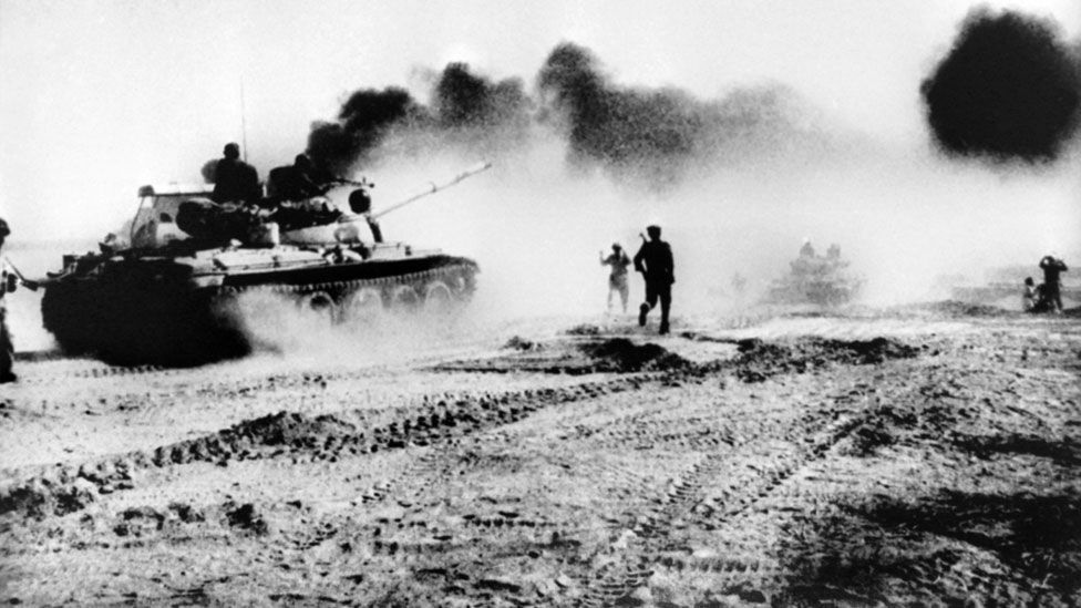 Iraqi troops riding in Soviet-made tanks trying to cross the karun river Northeast of Khorramshahr