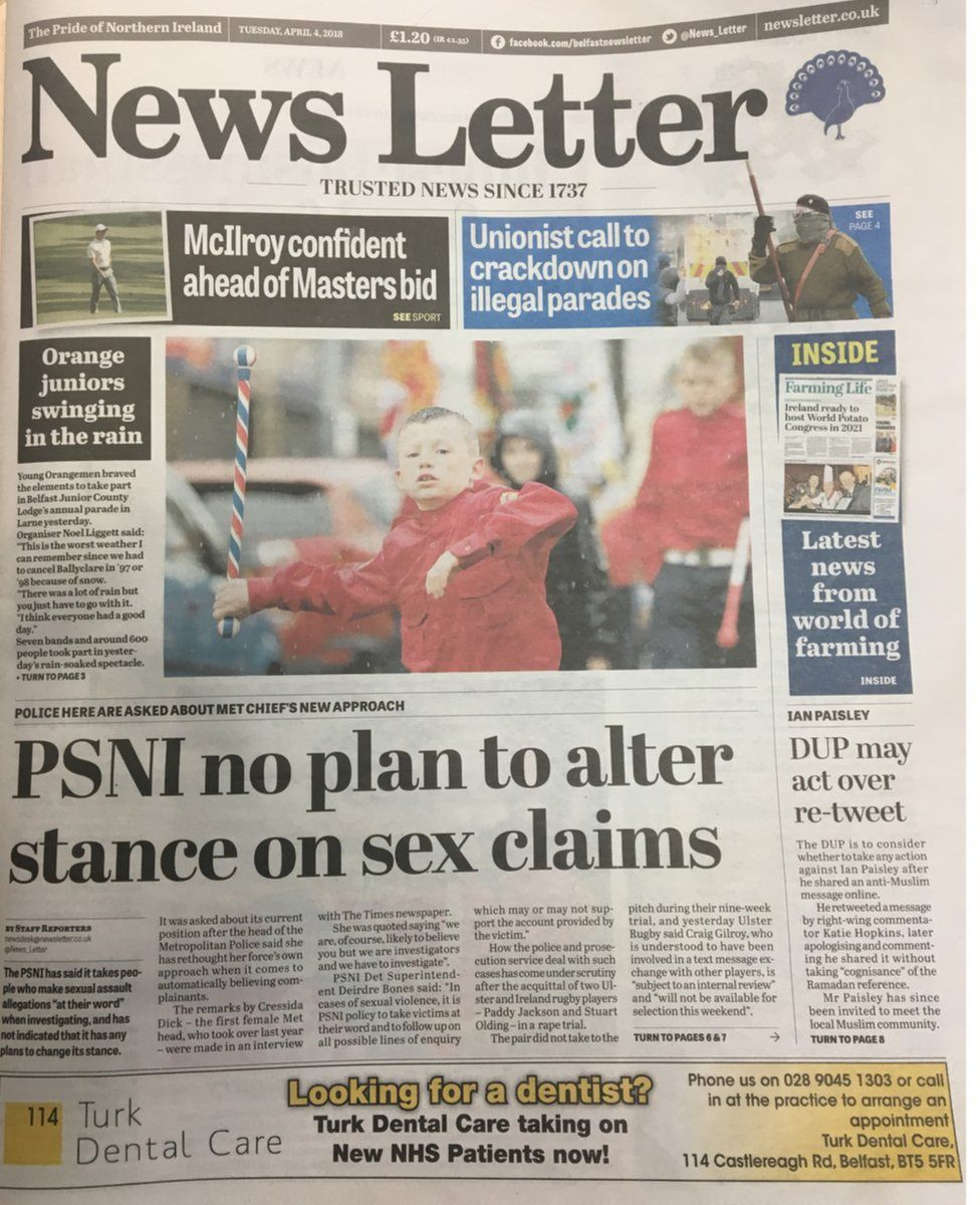 front page of the News Letter Wednesday 4th April 2018