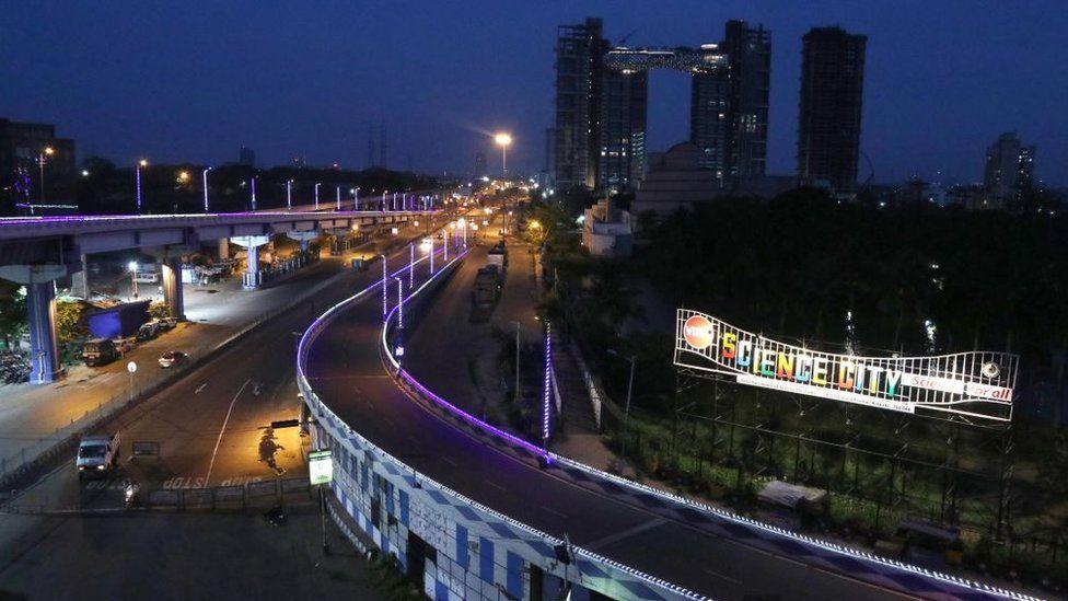 A deserted road in Kolkata taken during India's lockdown in April