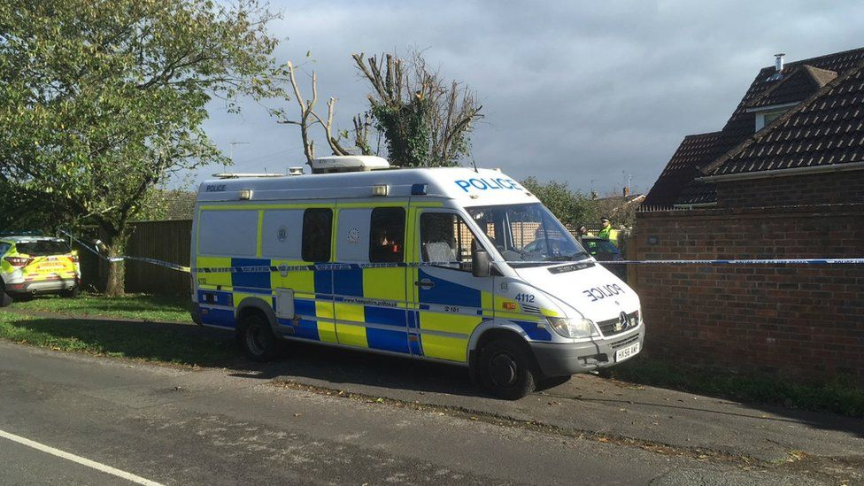 Police at the address in Whitsbury Road