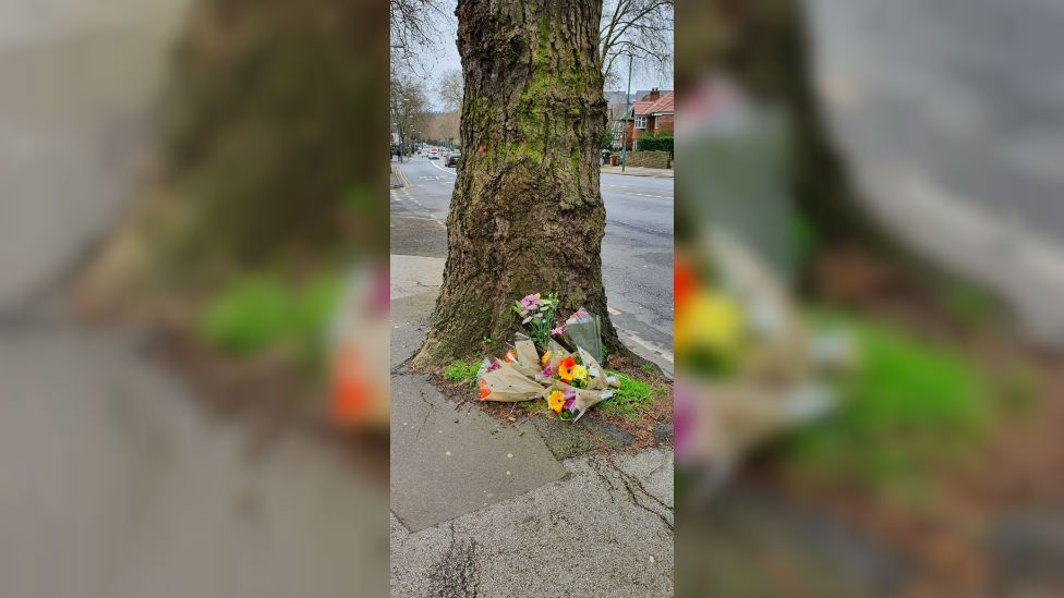 Derby Road floral tribute