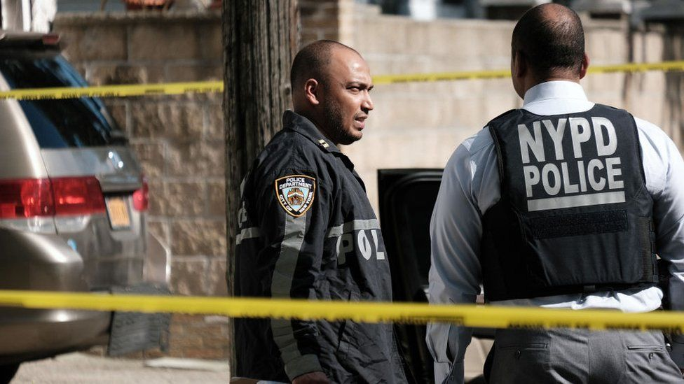 Police investigate the scene of a shooting in Brooklyn on June 23, 2021 in New York City. New Yorkers are increasingly concerned about a rise in violence in the city with a 53.2 percent hike in shootings from last year so far this year