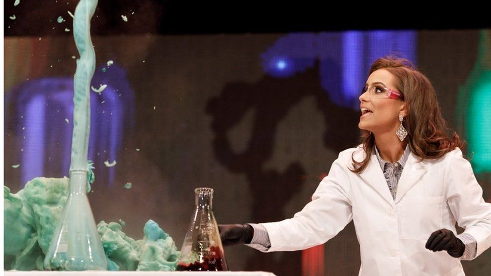Camille Schrier and her experiment on stage