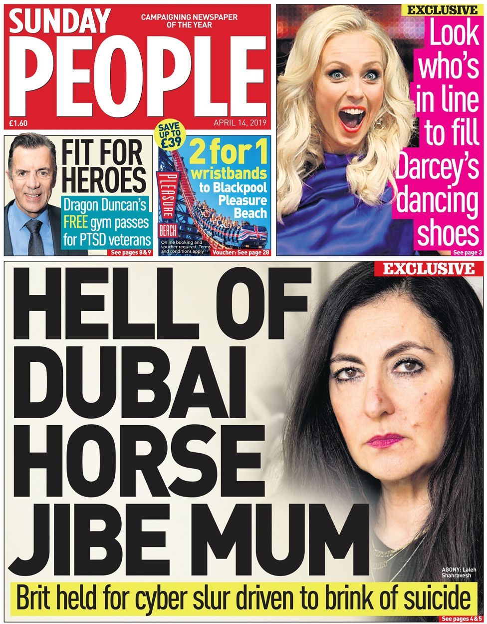 Sunday People front page, 14/4/19