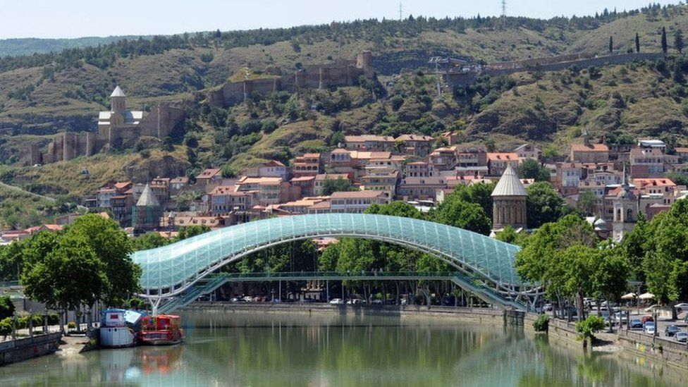 A view of the Peace Bridge in Tbilisi
