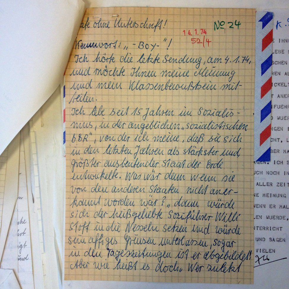 A sample letter from the BBC archives