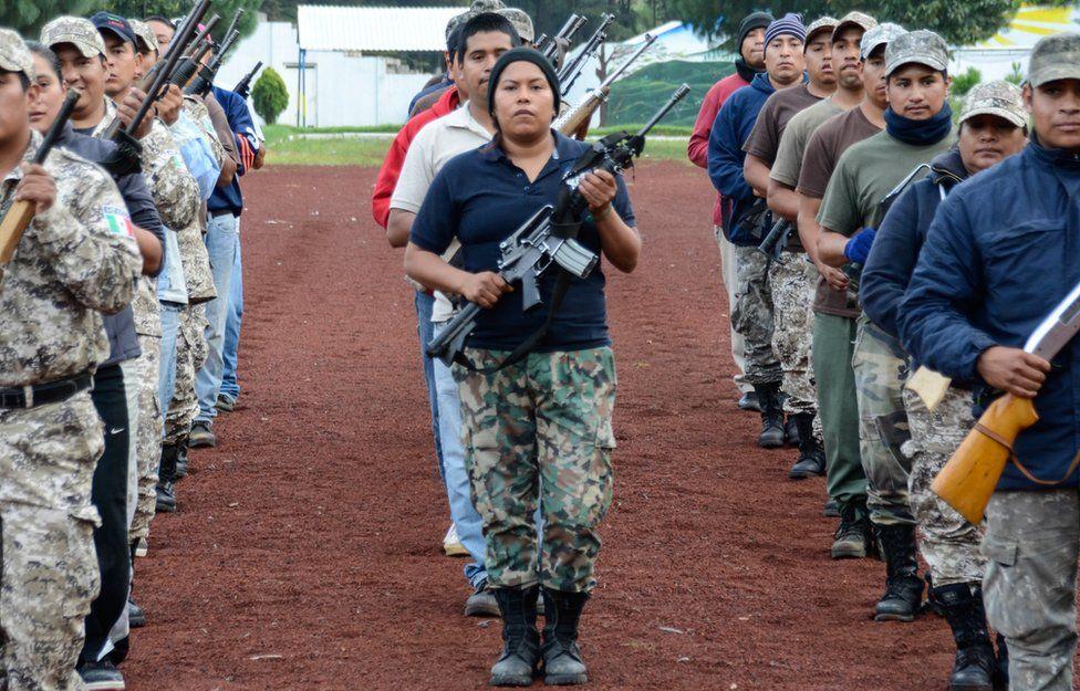 Cheran's militia rehearse for a parade