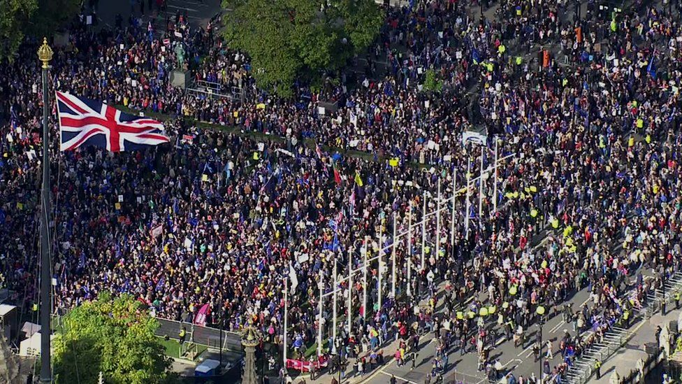 protesters gather in parliament square