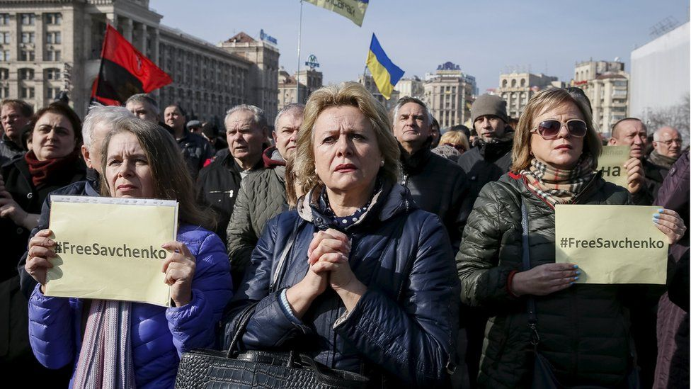 People take part in a rally demanding liberation of Ukrainian army pilot Nadia Savchenko by Russia, in central Kiev, Ukraine, March 6, 2016
