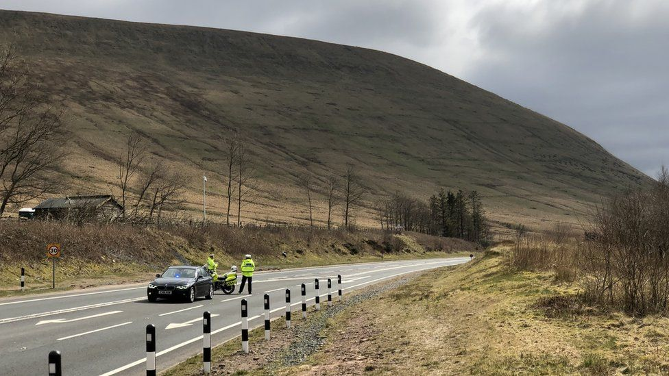 A police check point at Storey Arms, Brecon Beacons