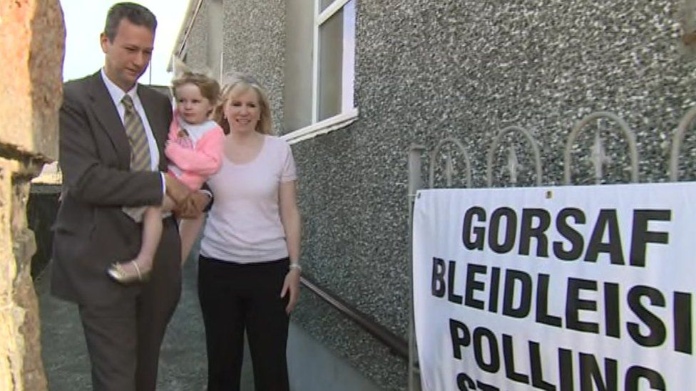 UKIP Wales leader Nathan Gill went to vote with wife Jana and daughter Elsa, two