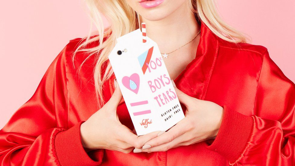 A Valfre phone case shaped like a milk carton went viral