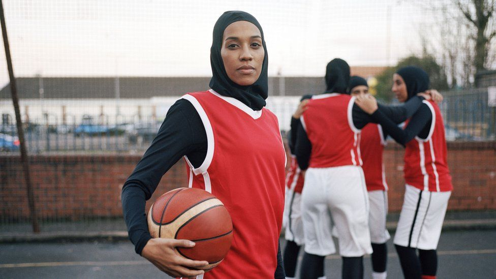 Asma Elbadawi and her basketball team in March 2018