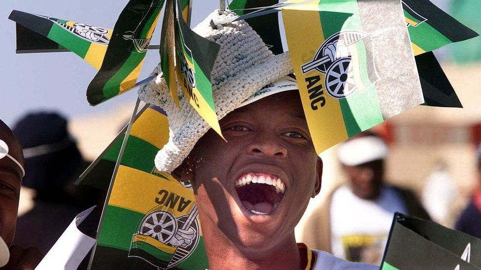 ANC supporter dressed with flags