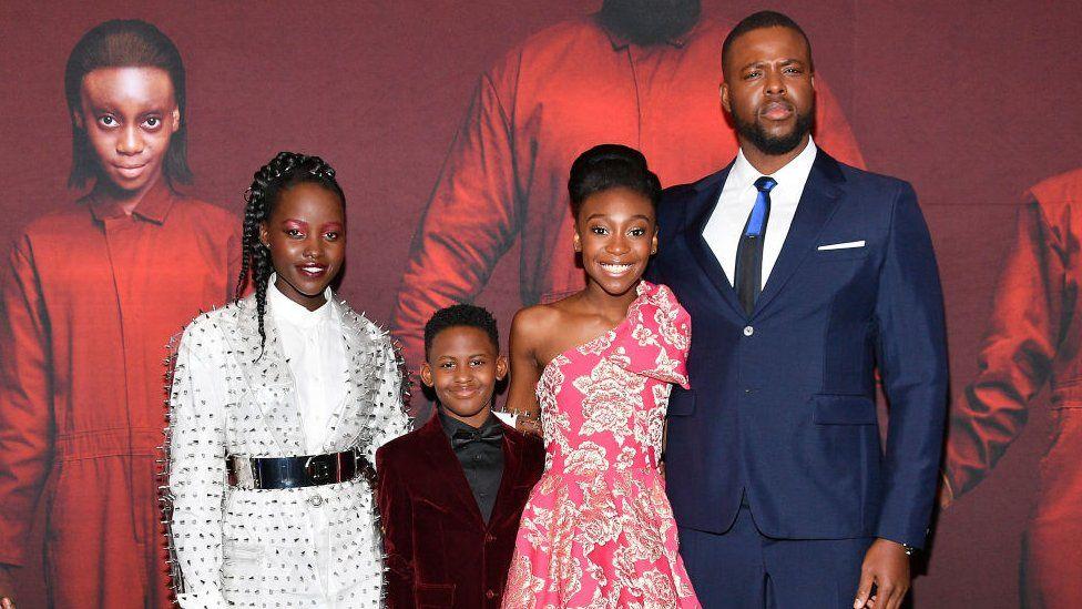 Lupita Nyongo, Evan Alex, Shahadi Wright Joseph and Winston Duke at the Us premiere