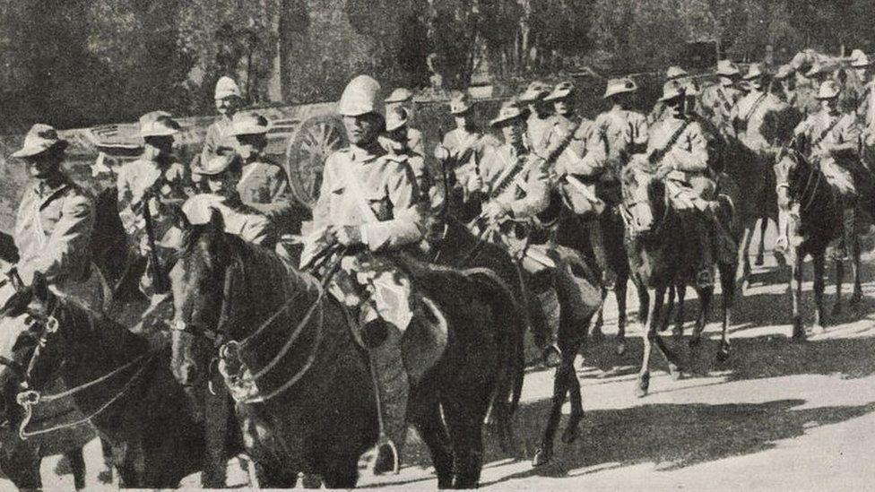 Light cavalry, defenders of Mafeking, in 1900