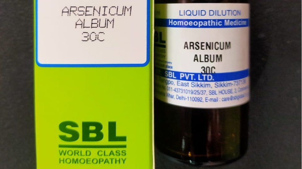 A bottle and packaging for homeopathic medicine Arsenicum Album-30