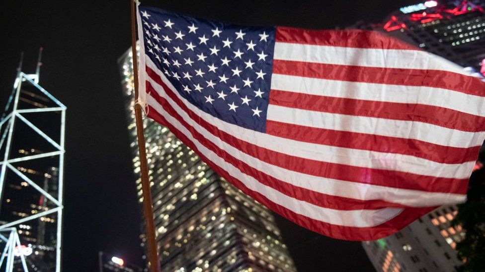 An American Flag is seen waving during a Rally in Hong Kong, China, October 14, 2019.
