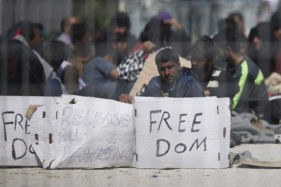 Protesters at a migrant camp on Lesbos, 7 April
