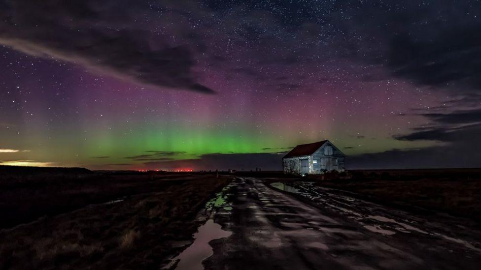Northern Lights over Thornham Staithe in Norfolk