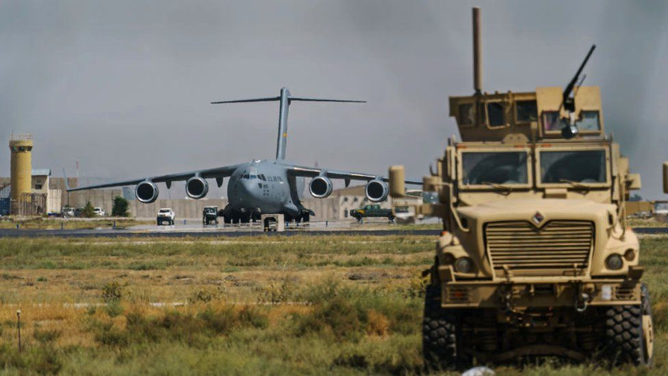 A view of the C-17 Globemaster prepares to take off in the Hamid Karzai International Airport in Kabul, Afghanistan, Sunday, 29 August 2021