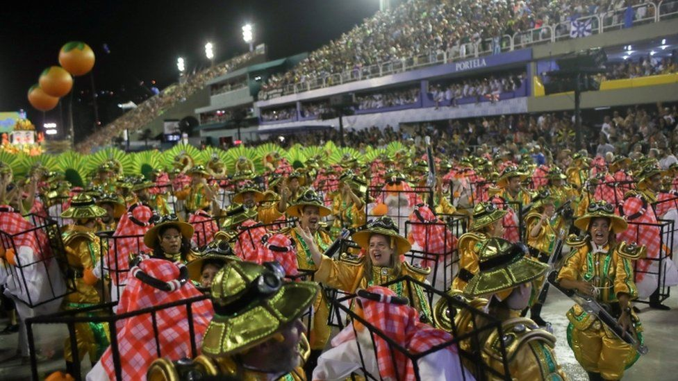 Members of Sao Clemente samba school perform during the second night of the Carnival parade in Rio de Janeiro, Brazil February 24, 2020.