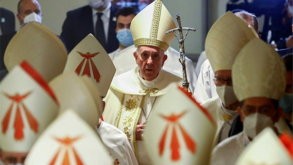 Pope Francis arrives to lead a mass at the Chaldean Cathedral of Saint Joseph in Baghdad, Iraq March 6, 2021