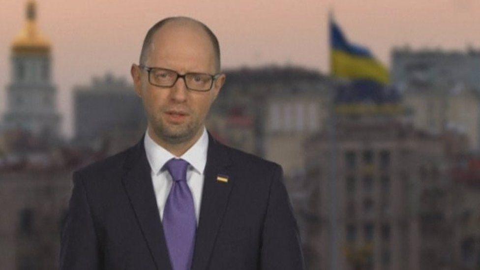 Ukraine's Prime Minister Arseniy Yatsenyuk announces his resignation in Kiev (10 April 2016)