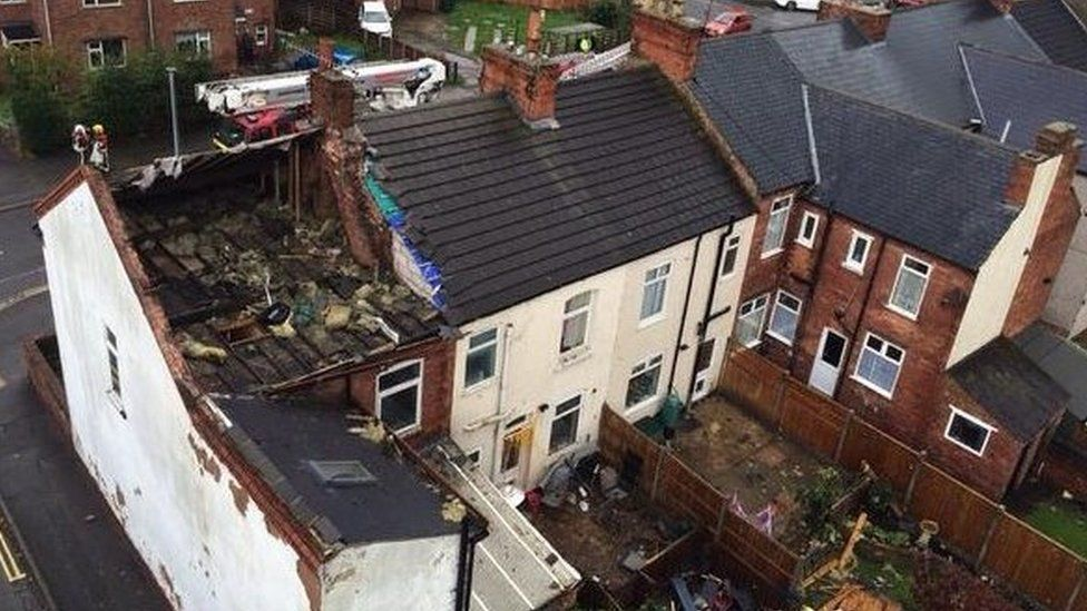 Damage caused by mini-tornado