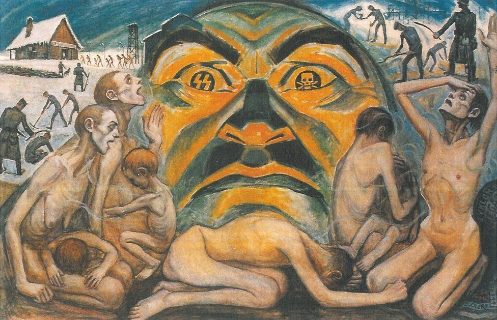 Olère painting - SS guards/dying prisoners (courtesy of Auschwitz-Birkenau Memorial)