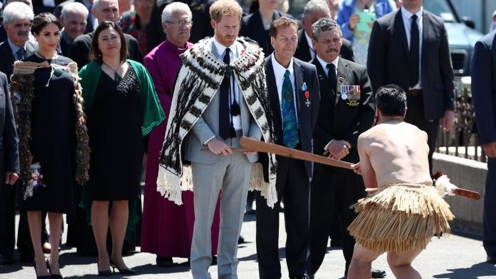 Prince Harry, Duke of Sussex and Meghan, Duchess of Sussex attend a formal powhiri welcome at Te Papaiouru Marae in on October 31, 2018 in Rotorua, New Zealand