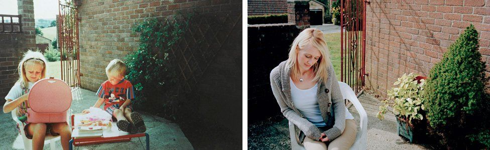 (left) Emma Betts and her brother James in 1992 (right) Emma in the same location in 2013