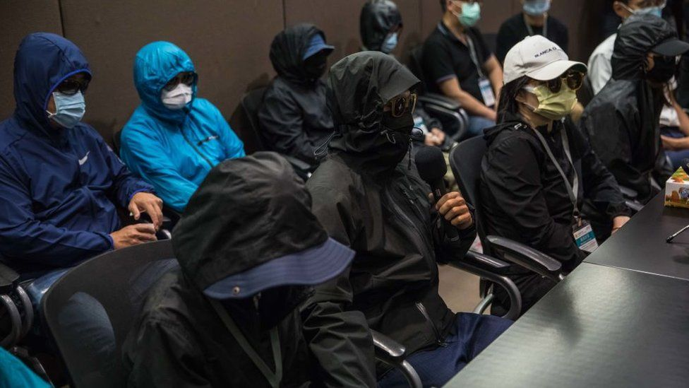 Relatives of the 12 Hong Kong detainees held a press conference in Hong Kong on September 12, 2020.