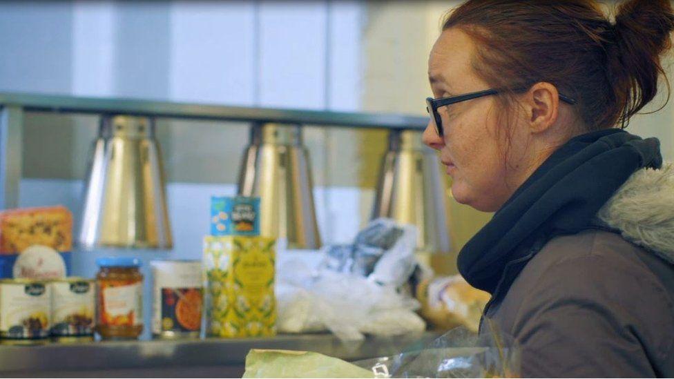 Paula at foodbank