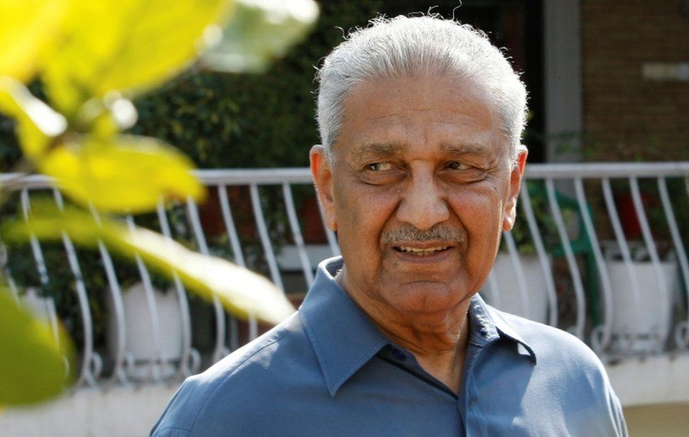 Nuclear scientist Abdul Qadeer Khan pictured outside his residence in Islamabad in 2009