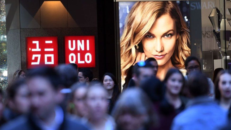 A crowd of shoppers outside the Uniqlo store in central Sydney
