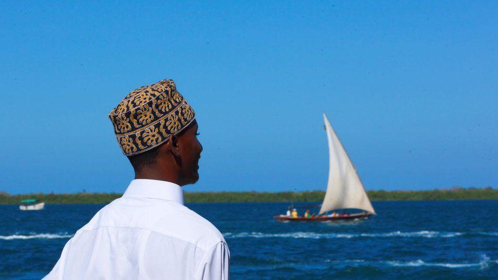 Man looking towards the sea on March 4, 2011 in Lamu, Kenya.