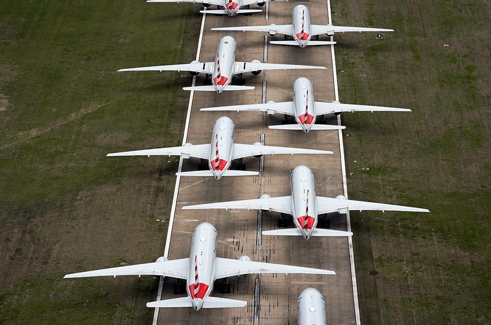 Stacked planes on runway
