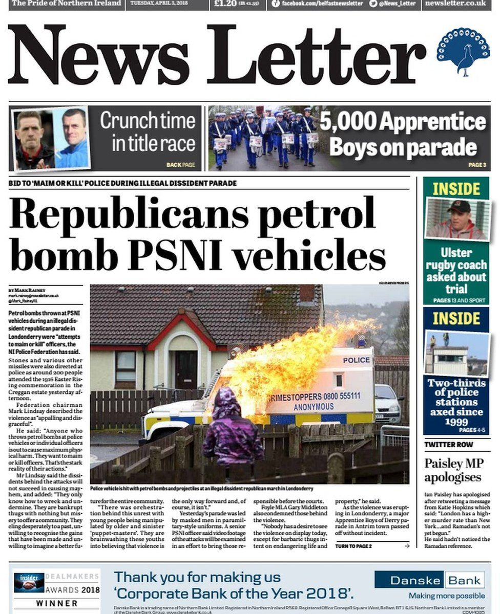 front page of the news letter Tuesday 3 April 2018