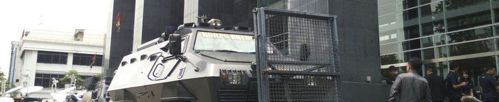 Picture of security forces outside the Jakarta court on 27 October 2016