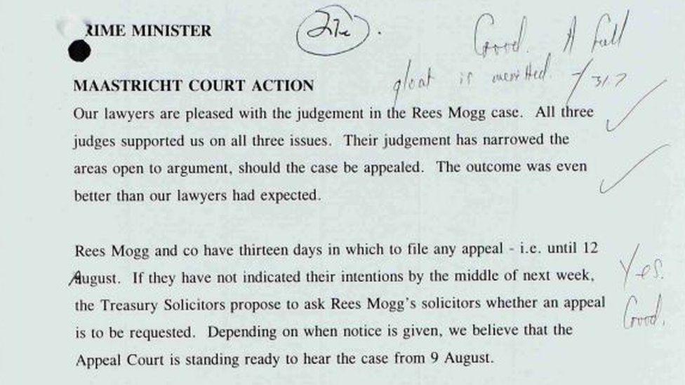 John Major's annotations on a letter