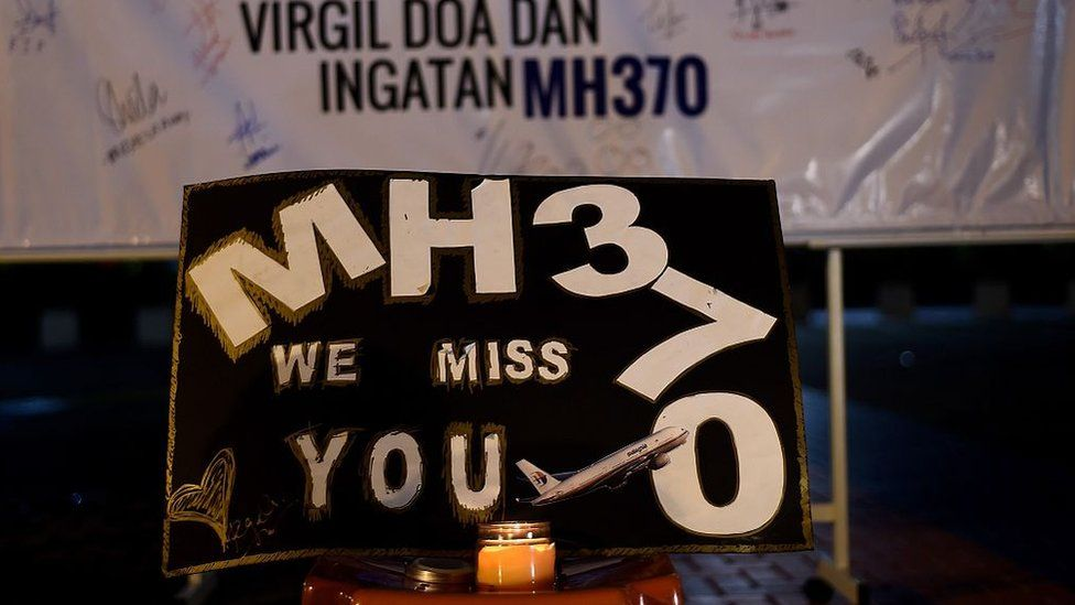"""A message says: """"MH370 we miss you"""""""